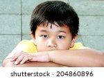 Asian Boy Sad Staring