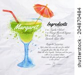 margaret cocktails drawn... | Shutterstock .eps vector #204870484