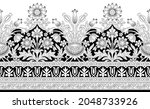 black and white vintage floral...   Shutterstock .eps vector #2048733926