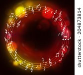 music notes multicolor... | Shutterstock . vector #204873814