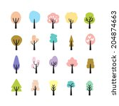 abstract colorful tree icon set ... | Shutterstock .eps vector #204874663