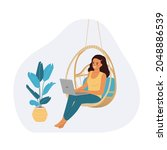 young woman sitting on the...   Shutterstock .eps vector #2048886539
