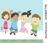 an image of excited children. | Shutterstock .eps vector #204889798