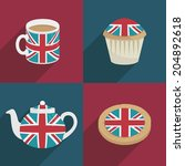 set of uk decoration cards with ... | Shutterstock .eps vector #204892618