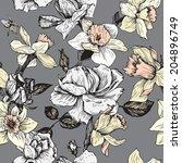 vintage vector seamless floral... | Shutterstock .eps vector #204896749