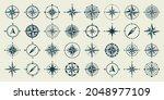 vintage marine wind rose ... | Shutterstock .eps vector #2048977109