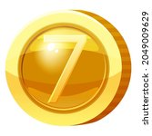 gold medal coin number 7 symbol....