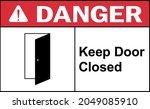 keep door closed danger sign.... | Shutterstock .eps vector #2049085910