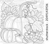 pumpkins  viburnum and... | Shutterstock .eps vector #2049143936