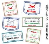 passport grunge stamps  not... | Shutterstock .eps vector #204940006
