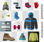 various types of winter clothes ... | Shutterstock .eps vector #204940354