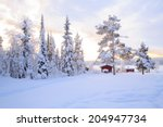 Winter Landscape With House At...