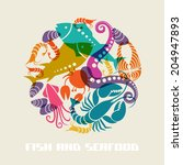vector color fish and seafood... | Shutterstock .eps vector #204947893