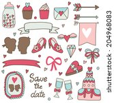 vector set of cute hand drawing ... | Shutterstock .eps vector #204968083