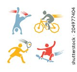 active sports boys icons vector ... | Shutterstock .eps vector #204977404