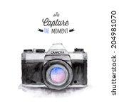 vintage camera. hand drawn...   Shutterstock . vector #204981070