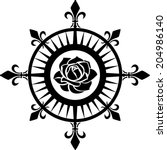 compass rose  fleur de lis ... | Shutterstock .eps vector #204986140