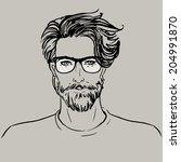 hipster. vector of a man face...   Shutterstock .eps vector #204991870