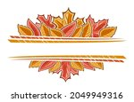 autumn leaves border with... | Shutterstock . vector #2049949316
