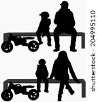 family silhouettes | Shutterstock .eps vector #204995110