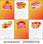 sale adverts with autumnal...   Shutterstock .eps vector #2050004726