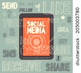 social media sign and symbol... | Shutterstock .eps vector #205003780