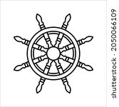 steering wheel captain boat... | Shutterstock .eps vector #2050066109