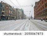 Winter In Snowy Amsterdam In...