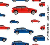 car red and blue on a white... | Shutterstock .eps vector #205011034