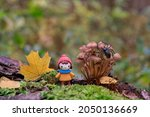 Cute Doll And Mushrooms In...