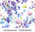 Stock photo  floral seamless pattern summer flowers and butterflies watercolor 205018456