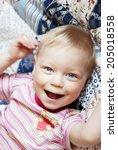 portrait of happy joyful... | Shutterstock . vector #205018558