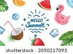 hello summer poster on white... | Shutterstock .eps vector #2050217093