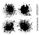 collection of four ink splats... | Shutterstock .eps vector #20502347