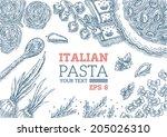 italian pasta frame | Shutterstock .eps vector #205026310