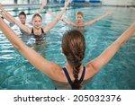 smiling female fitness class... | Shutterstock . vector #205032376