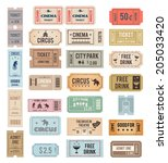 vintage tickets with different... | Shutterstock .eps vector #205033420