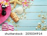 summer background with... | Shutterstock . vector #205034914