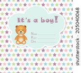 baby boy arrival card. baby... | Shutterstock .eps vector #205040068