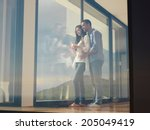 romantic happy young couple... | Shutterstock . vector #205049419