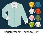 vector set of various dress... | Shutterstock .eps vector #205059649