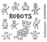 doodle robot cartoon  vector... | Shutterstock .eps vector #205069483