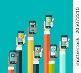 concept of mobile app in flat...   Shutterstock .eps vector #205072210