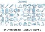 car service gradient line icons ...