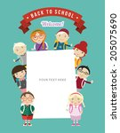 cartoon school girls and boys... | Shutterstock .eps vector #205075690
