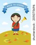 cartoon school girl vector...   Shutterstock .eps vector #205075696