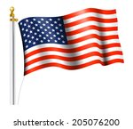 american flag on flag pole | Shutterstock .eps vector #205076200