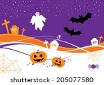 halloween design with pumpkins  ... | Shutterstock .eps vector #205077580