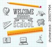 welcome back to school message... | Shutterstock .eps vector #205077904