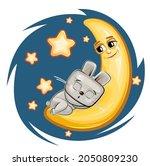 kid hare sleeps on the moon....   Shutterstock .eps vector #2050809230